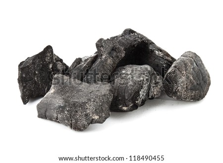 Used coal from the burning fire