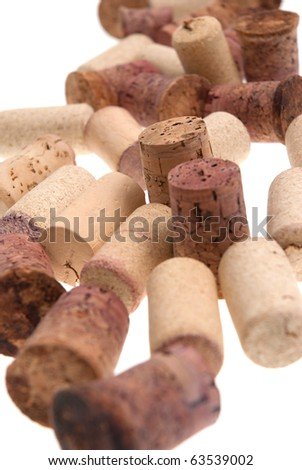 Used corks from bottles guilt isolated white background.