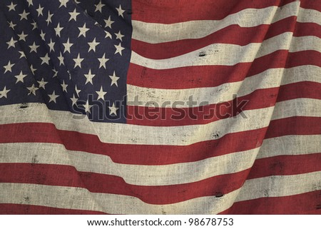 used fabric US flag - close up