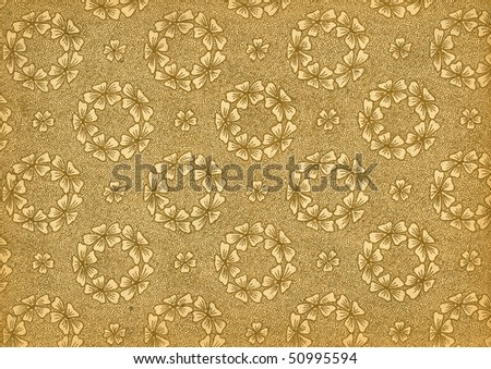 Used floral vintage wallpaper - wreaths - in beige and gold - natural grainy surface - XL size