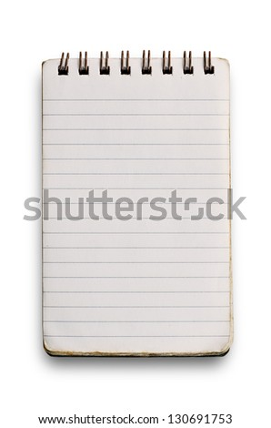 Used notebook isolated on white.