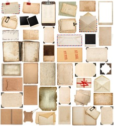 Used paper sheets, books, pages and old postcards, antique clipboard and photo corner isolated on white background. Vintage photo frames.