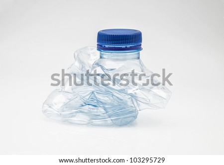 used plastic bottle and crushed