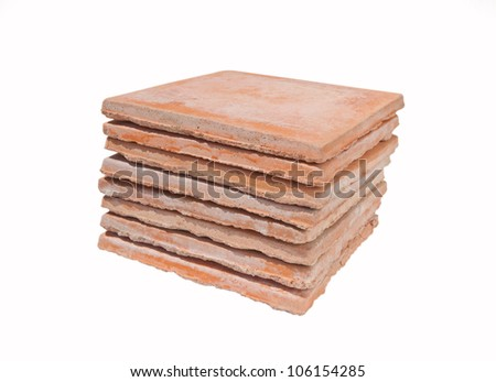 Used saltillo tiles isolated - recycled building materials