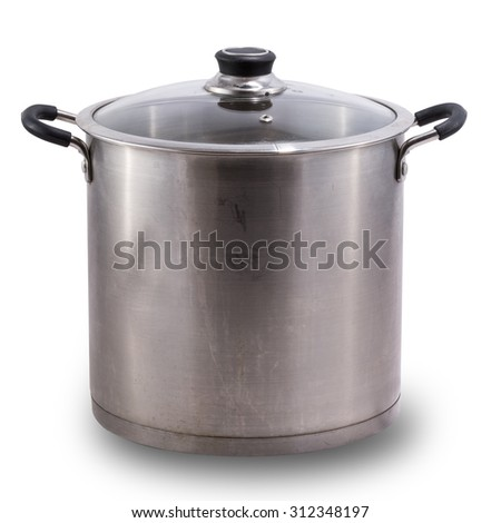Used stock pot isolated on white #312348197