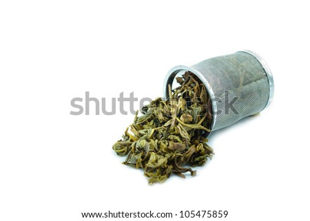 Used Tea trash on White Background