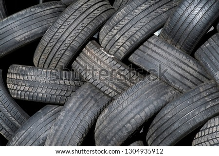 Used tires stacked together