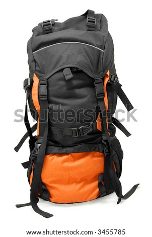 Used tourist backpack isolated on white