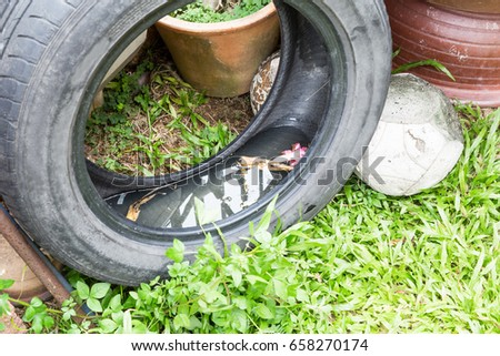 Used tyres potentially store stagnant water and become mosquitoes breeding ground