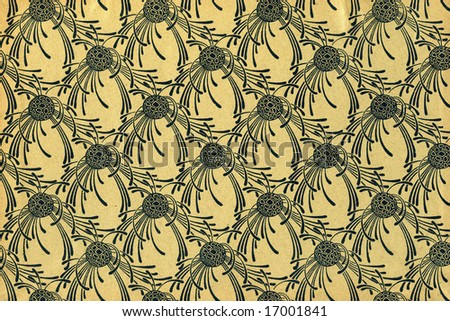 Used vintage floral wallpaper - art nouveau - grainy surface
