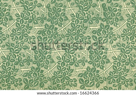 Used vintage wallpaper with leaves and branches in green - circa 1906 - natural grainy surface
