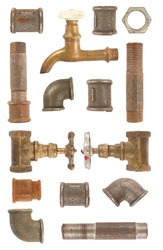 Used water pipes, valves and connectors collection on white background