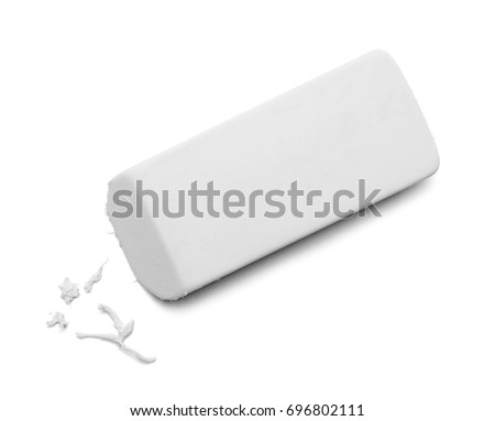 Used White Eraser Top View Isolated on White Background. - Shutterstock ID 696802111