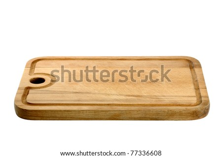 Used wooden cutting board isolated on white background
