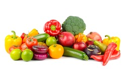 Useful and fresh vegetables and fruits isolated on white background.