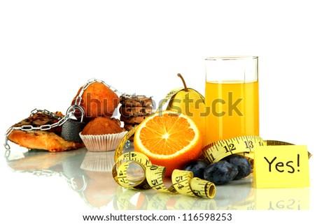 Useful and harmful food isolated on white