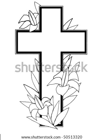 Useful black and white design element with Easter lilies  and cross over white  background .Great template for holiday and religious designs . - stock photo