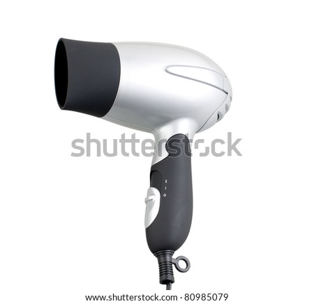 Useful chrome hair dryer isolated on white