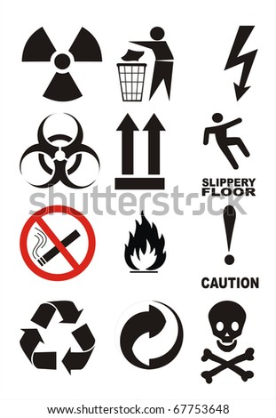 Useful Warning Symbols illustration poster image isolated