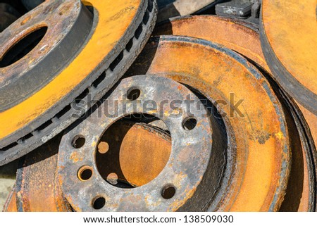 Useless, worn out and rusty brake discs