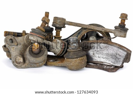 Useless, worn out and rusty suspension car parts