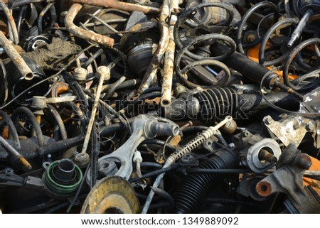 Useless, worn out rusty brake discs and other parts #1349889092