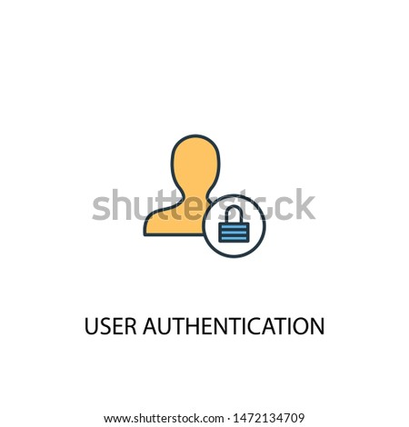 User Authentication concept 2 colored line icon. Simple yellow and blue element illustration. User Authentication concept outline symbol design