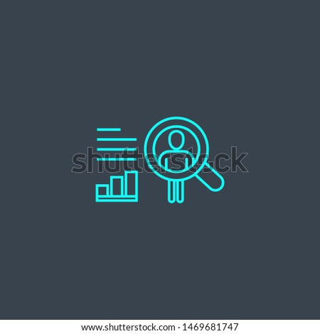 User behavior concept blue line icon. Simple thin element on dark background. User behavior concept outline symbol design from Big data set. Can be used for web and mobile UI/UX