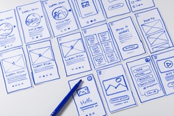 User experience design, desk with paper sketches for mobile interface