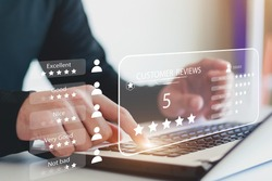 User gives rating to service experience on online application, Customer review satisfaction feedback survey concept, Customer can evaluate quality of service leading to reputation ranking of business.