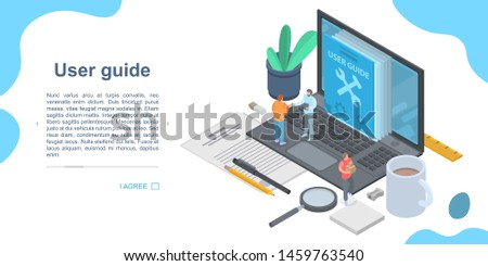 User guide concept banner. Isometric illustration of user guide concept banner for web design
