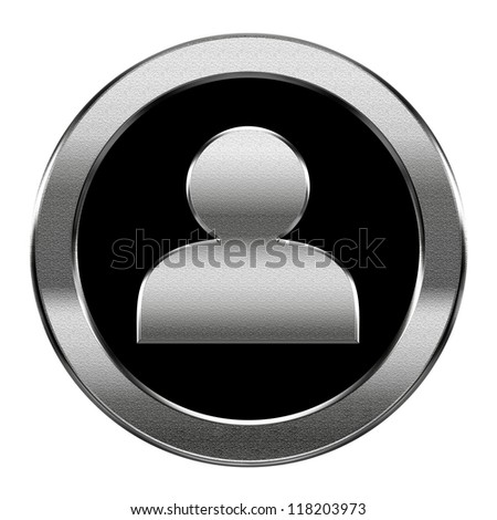 User icon silver, isolated on white background