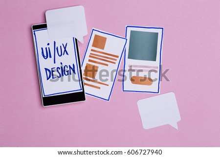 User interface and user experience design process, UI/UX. Composition with smart phone and design elements for mobile website #606727940