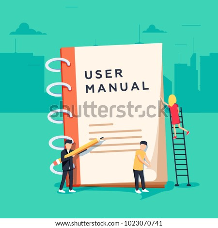User manual flat style concept. People, surrounded with some office stuff, are discussing content of guide book. Requirements specifications document. People are reading book with instructions.