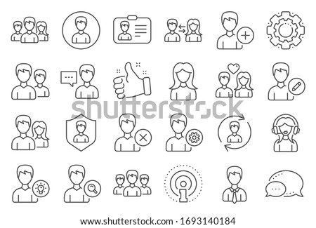 User people line icons. Male and Female Profile, Group and Support icons. ID card, Teamwork people and Businessman symbols. Couple love, Security profile and User management support.