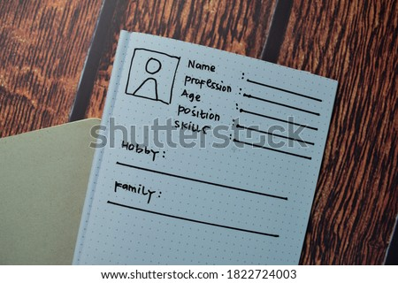 User's Persona write on a book isolated on wooden table. Foto stock ©