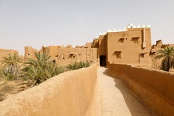 Ushaiger, Ar Riyadh in Saudi Arabia. A traditional restored village made of clay bricks. Ushaiger is one of the Heritage Villages in the Kingdom of Saudi Arabia
