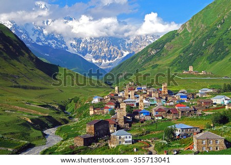 Ushguli, Mt. Shkhara, Upper Svaneti, Georgia, Europe