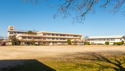 Ushijima Public Elementary School, Kasukabe, Saitama, Japan. Elementary school closed and the playing field empty due to coronavirus, covid-19.