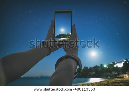 Using cellphone with de-focused beach, stars and night sky. My astronomy work.