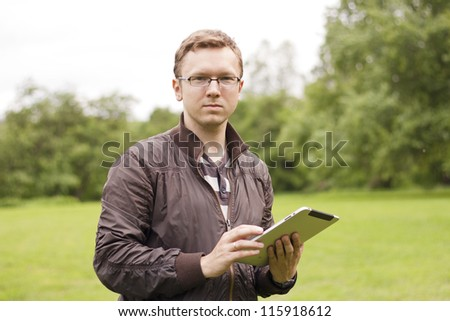 Using digital tablet in nature