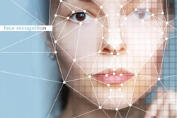 using intelligent technologies and neural network algorithms. Female face and grid on nodal points, technologies and algorithms of identification of person on photos and videos of different quality