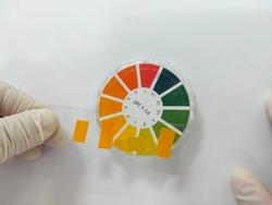 Using litmus paper to measure pH.