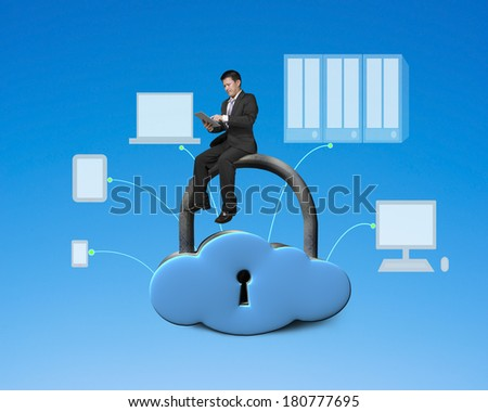 Using tablet and sitting on cloud shape locker with devices drawing