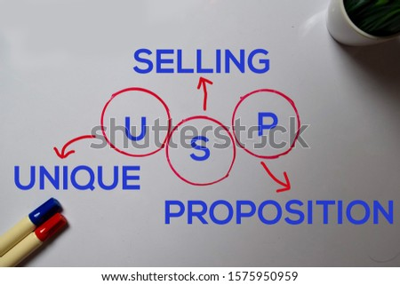 USP -Unique Selling Proposition text with keywords isolated on white board background.
