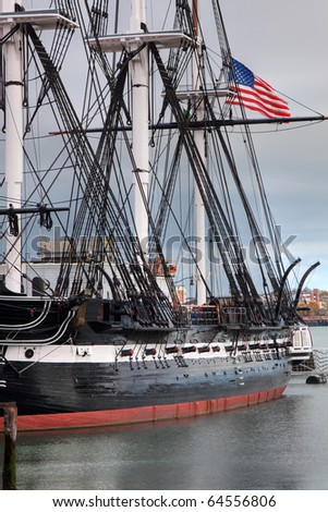 USS Constitution Battleship with American Flag in Boston Harbor