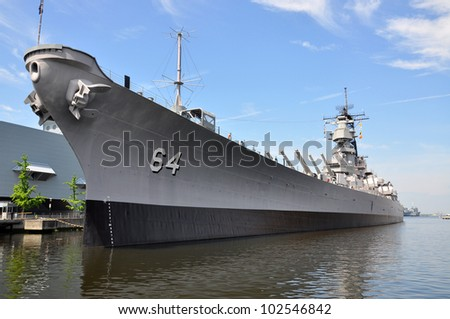 USS Wisconsin Battleship (BB-64) in Norfolk, Virginia, USA - stock photo