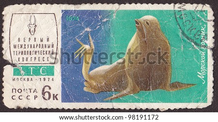 "USSR - CIRCA 1974: A post stamp printed in USSR shows seal, series ""First International Congress teriological"". circa 1974"