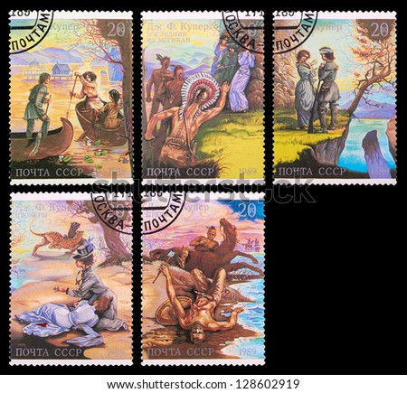 USSR - CIRCA 1989: A set of postage stamps printed in USSR shows illustrations from the novels of James Cooper, series, circa 1989