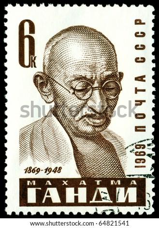 USSR - CIRCA 1969: a stamp printed by USSR, shows portrait Mahatma Gandi, circa 1969